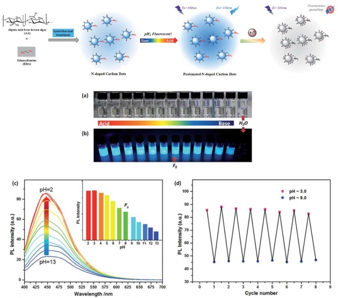 One-step synthesis of robust nitrogen-doped carbon dots: acid-evoked fluorescence enhancement and their application in Fe3+ detection