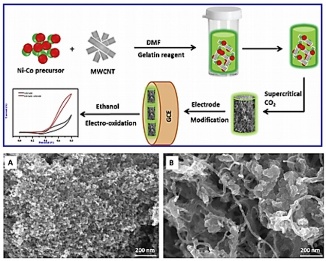 Novel MWCNT interconnected NiCo2O4aerogels prepared by a supercritical CO2drying method for ethanol electrooxidation in alkaline media