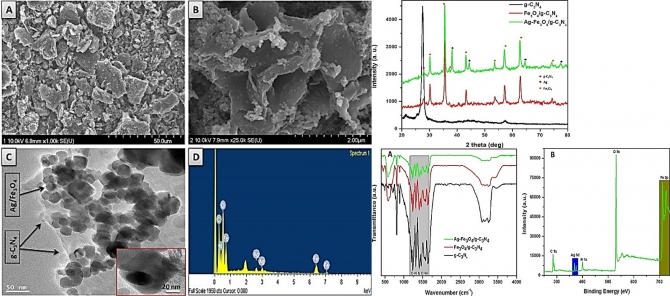 Novel magnetically separable silver-iron oxide nanoparticles decorated graphitic carbon nitride nano-sheets: A multifunctional photocatalyst via one-step hydrothermal process